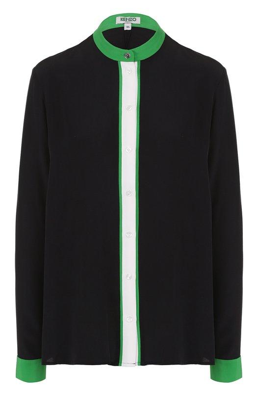 Шелковая блуза прямого кроя с контрастной отделкой Kenzo F752CH127520