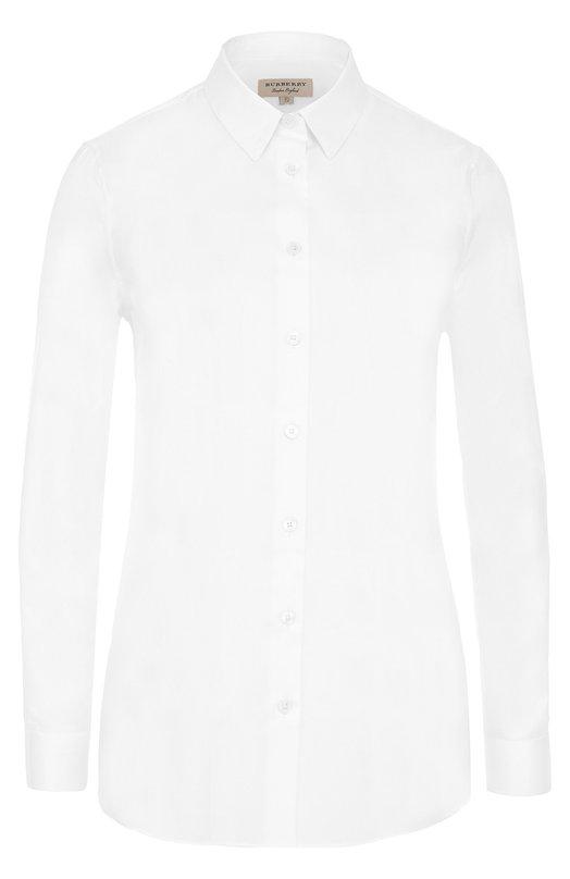 Купить Приталенная хлопковая блуза Burberry, 4004439, Тунис, Белый, Хлопок: 100%;