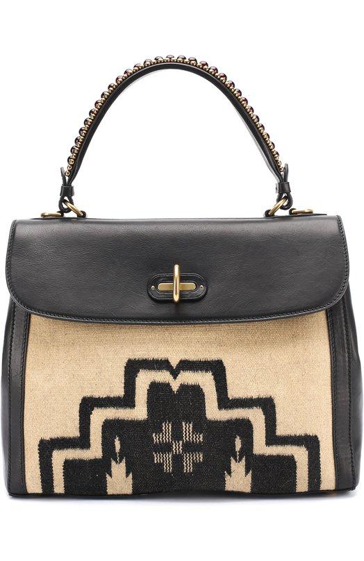 Купить Сумка Tiffin 33 с отделкой текстилем Ralph Lauren, 69H/INZ32/FNZ32, Италия, Черно-белый, Кожа натуральная: 100%;