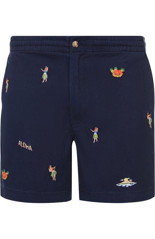 Хлопковые шорты с контрастной вышивкой Polo Ralph Lauren A22/HS047/BR437