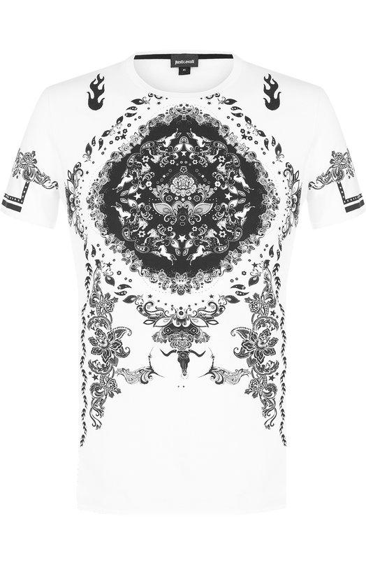 Купить Хлопковая футболка с принтом Just Cavalli Турция 5166453 S01GC0401/N20663