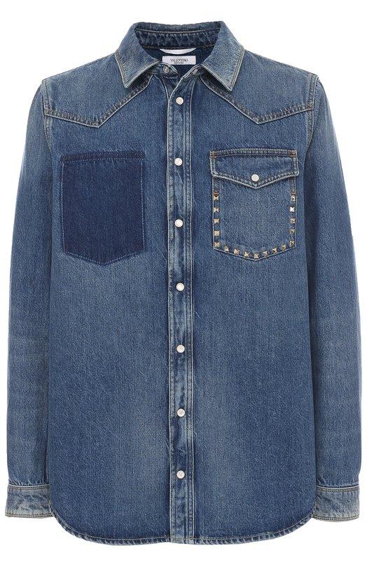 Джинсовая рубашка на кнопках с декоративной отделкой Valentino