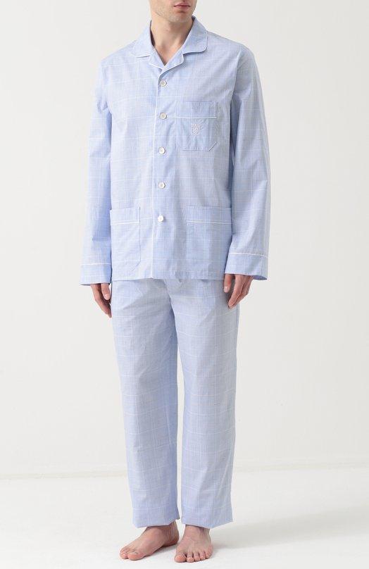 Купить Хлопковая пижама с брюками Ermenegildo Zegna, N6H000130, Италия, Голубой, Хлопок: 100%;