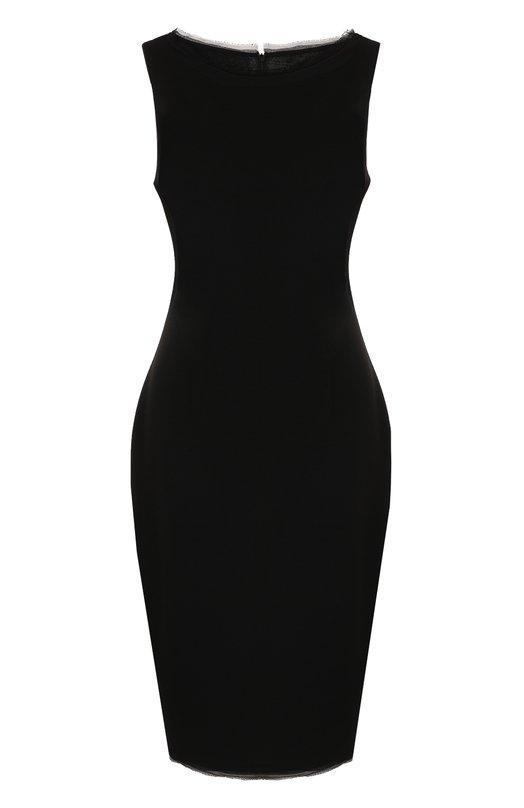 Купить Приталенное платье-миди без рукавов St. John, K14H000, Мексика, Черный, Шерсть: 53%; Вискоза: 47%; Шелк: 2%;
