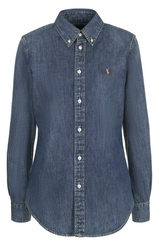 Купить Приталенная джинсовая блуза с логотипом бренда Polo Ralph Lauren, V60/IH699/BH699, Китай, Синий, Хлопок: 100%;