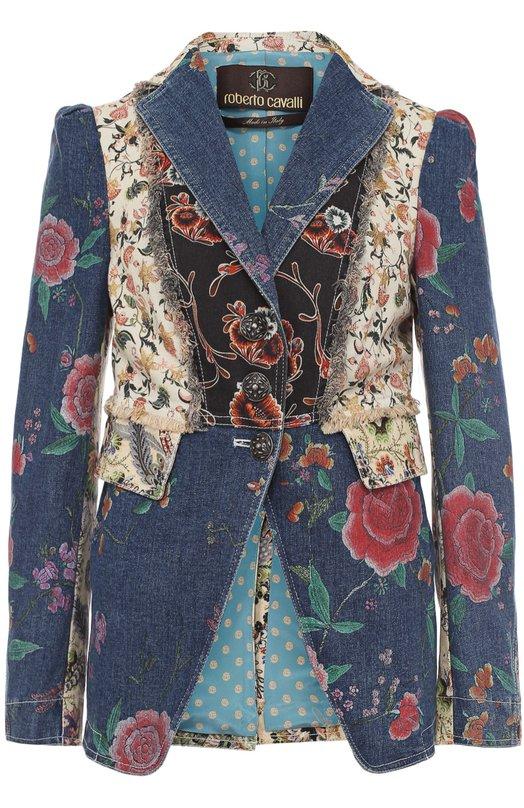 Приталенный джинсовый жакет с принтом Roberto Cavalli EWJ429/DAD66
