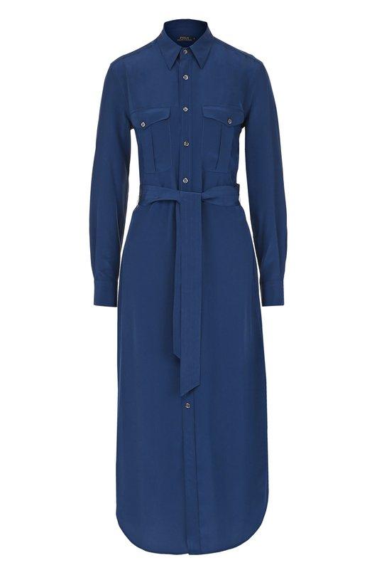 Купить Шелковое платье-рубашка с поясом Polo Ralph Lauren Китай 5164299 V36/XZC03/XYC03