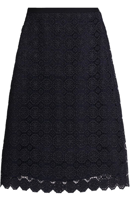 Купить Кружевная юбка А-силуэта St. John, K75MW01, США, Темно-синий, Вискоза: 82%; Полиэстер: 18%; Подкладка-шелк: 100%;