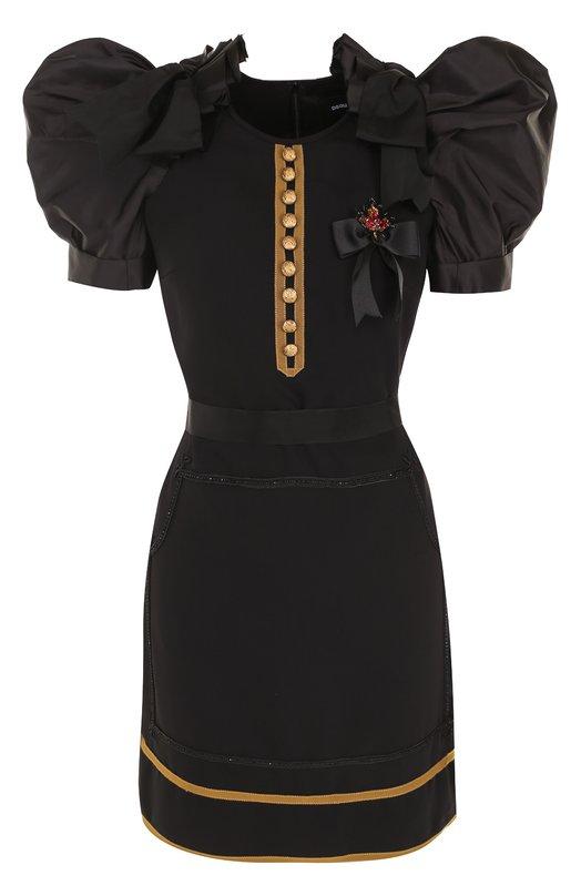 Мини-платье с рукавом-фонарик и контрастной отделкой Dsquared2 S73CU0216/S47810