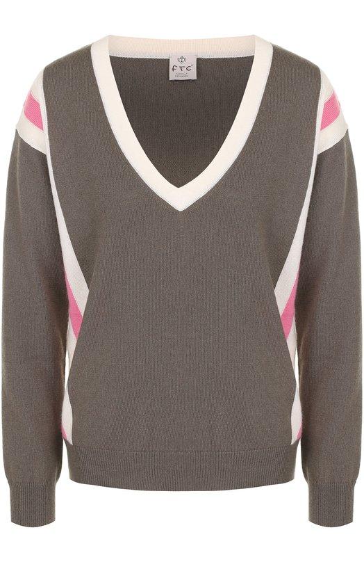 Купить Пуловер с контрастной отделкой и V-образным вырезом FTC, 676-0880, Китай, Хаки, Кашемир: 50%; Лиоселл: 50%;