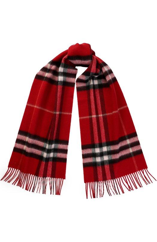 Купить Кашемировый шарф в клетку Burberry, 4050586, Великобритания, Красный, Кашемир: 80%; Металлизированное волокно: 7%; Полиэстер: 13%;