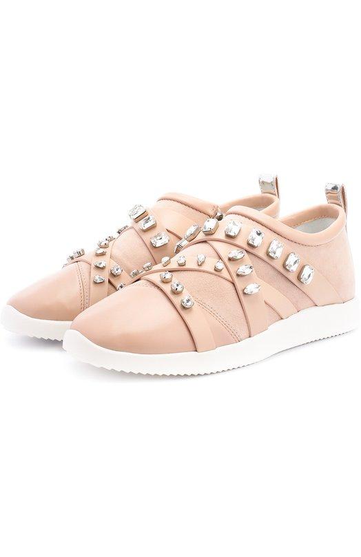 Комбинированные кроссовки с кристаллами Giuseppe Zanotti Design RS7086002