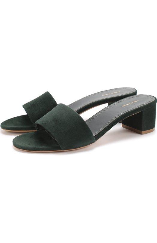 Купить Замшевые сабо на устойчивом каблуке Mansur Gavriel, FS4005SU, Италия, Темно-зеленый, Стелька-кожа: 100%; Подошва-кожа: 100%; Замша натуральная: 100%; Подкладка-кожа: 100%; Кожа: 100%;