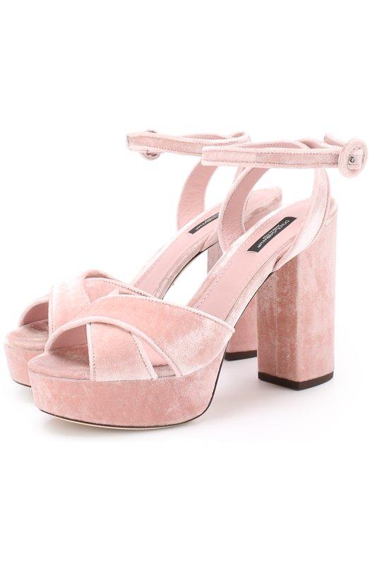 Бархатные босоножки на устойчивом каблуке Dolce & Gabbana 0112/CR0450/A4195
