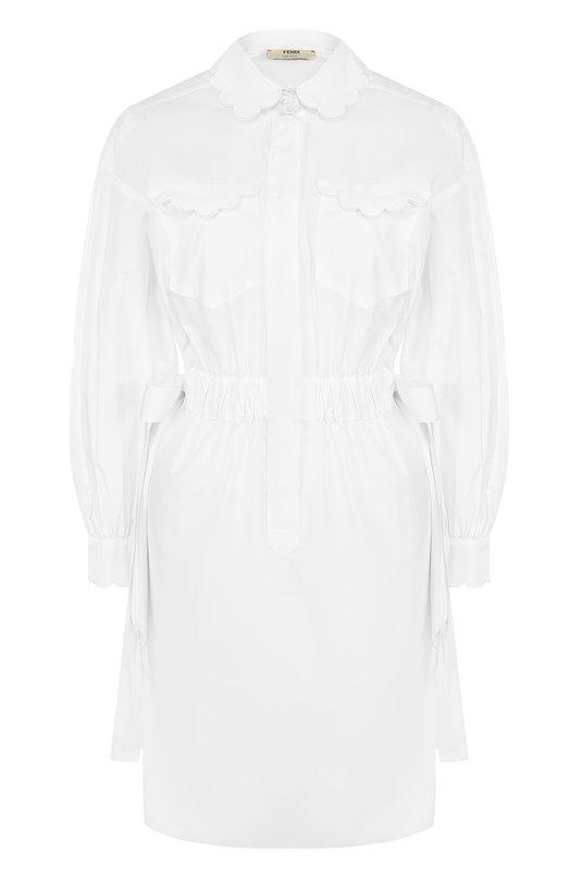 Приталенное платье из хлопка с декоративной отделкой Fendi FD9356/9VX