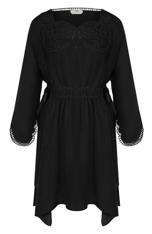 Шелковое приталенное платье с декоративной отделкой Fendi FD9361/02R