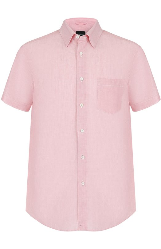 Рубашка с короткими рукавами из смеси хлопка и льна Ermenegildo Zegna UMX50SCH1