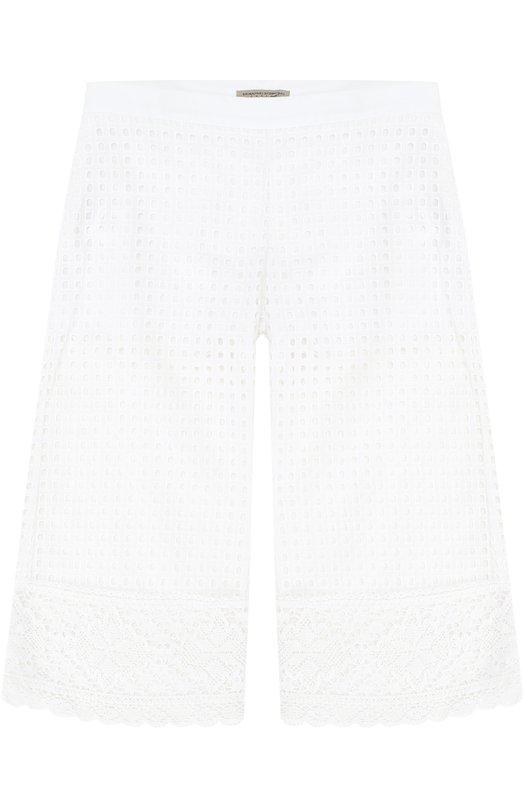 Хлопковые брюки свободного кроя с перфорацией и кружевной вставкой Ermanno Scervino 40I/PL04/V1/4-8