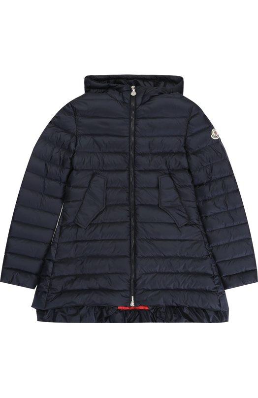 Стеганое пуховое пальто с капюшоном и оборкой Moncler Enfant C1-954-49383-99-53048/12-14