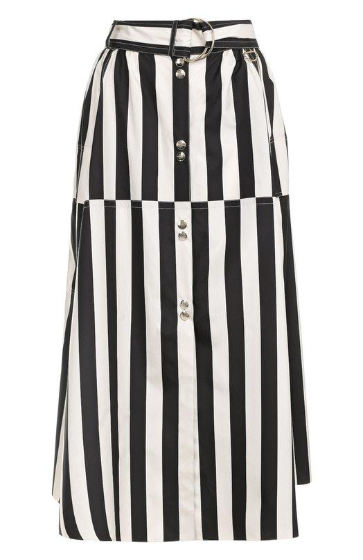 Шелковая юбка в полоску с поясом Nina Ricci 17ECJU025SE1262