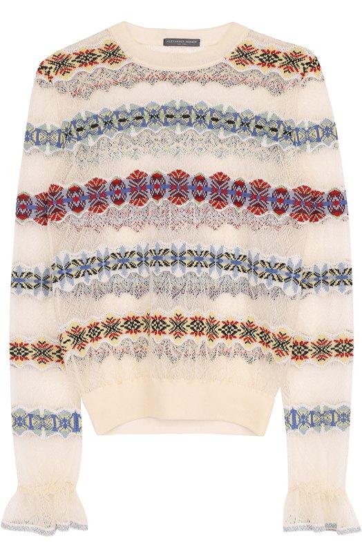 Шелковый полупрозрачный пуловер с круглым вырезом Alexander McQueen 471292/Q1WD0