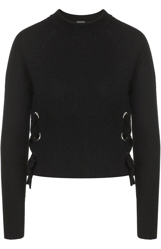 Купить Кашемировый пуловер фактурной вязки со шнуровкой FTC, 676-0200, Китай, Черный, Кашемир: 50%; Лиоселл: 50%;