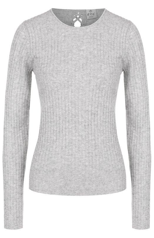 Купить Кашемировый пуловер фактурной вязки со шнуровкой FTC, 676-0220, Китай, Серый, Кашемир: 50%; Лиоселл: 50%;