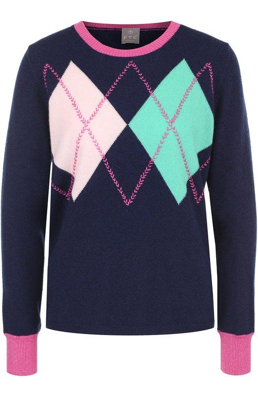 Купить Кашемировый пуловер с круглым вырезом FTC, 670-0420, Китай, Темно-синий, Кашемир: 100%;