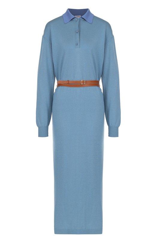 Вязаное платье-рубашка с контрастным поясом Loewe S3176020C0