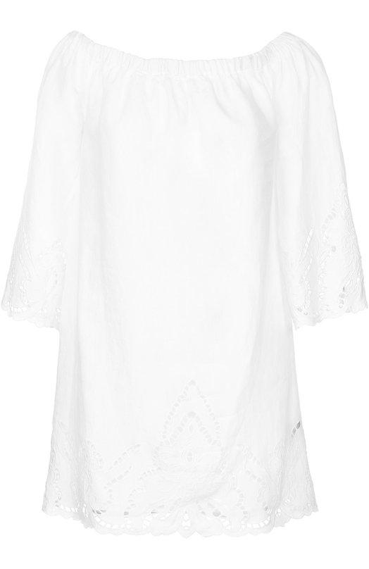 Льняное платье с открытыми плечами и перфорацией Polo Ralph Lauren Индия 5164325 V36/XZC29/XYC29  - купить со скидкой