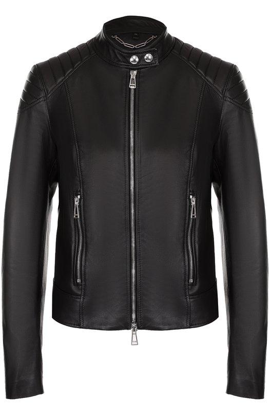 Приталенная кожаная куртка с воротником-стойкой Belstaff 72020180/L81N0568