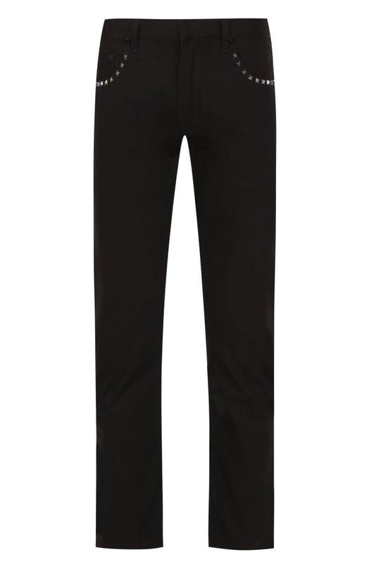 Купить Джинсы прямого кроя с декоративной отделкой Valentino, NV3DEC6J/3T5, Италия, Черный, Хлопок: 100%;