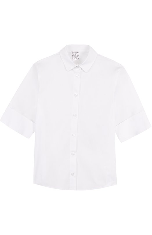 Блуза из эластичного хлопка с отворотами Stella Jean JB015/VEGA/8A-14A