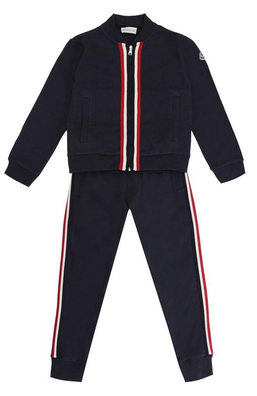 Купить Спортивный костюм из хлопка Moncler Enfant, C1-954-88072-05-80417/8-10, Румыния, Темно-синий, Хлопок: 100%; Отделка-полиамид: 100%;