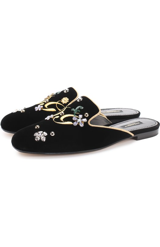 Бархатные сабо с вышивкой и кристаллами Dolce & Gabbana 0112/CI0007/AG948