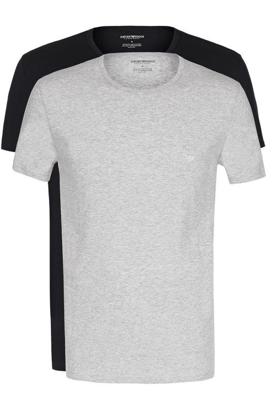 Купить Комплект из двух хлопковых футболок с круглым вырезом Emporio Armani, 111647/CC722, Мьянма, Серый, Хлопок: 100%;