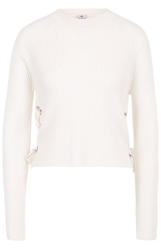 Купить Кашемировый пуловер фактурной вязки со шнуровкой FTC, 676-0220, Китай, Белый, Кашемир: 50%; Лиоселл: 50%;