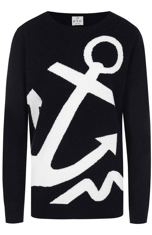 Кашемировый пуловер прямого кроя с принтом FTC, 676-0520, Китай, Темно-синий, Кашемир: 50%; Лиоселл: 50%;  - купить