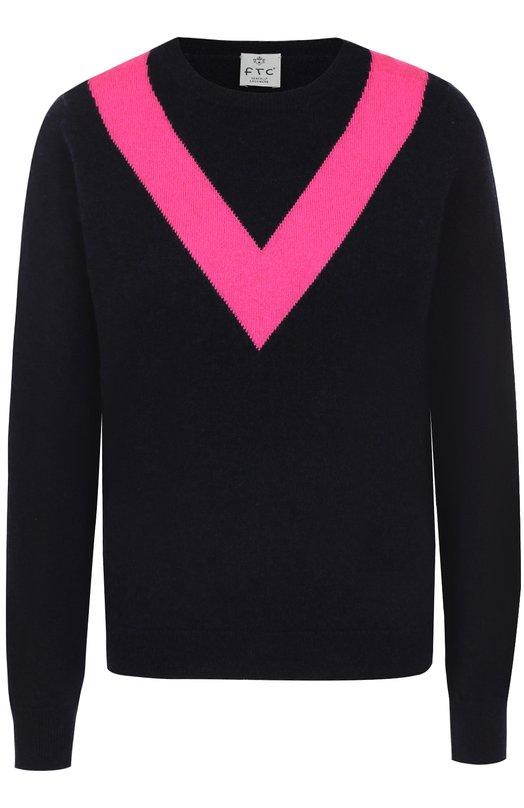 Купить Пуловер с круглым вырезом и контрастной отделкой FTC, 676-0870, Китай, Темно-синий, Кашемир: 50%; Лиоселл: 50%;