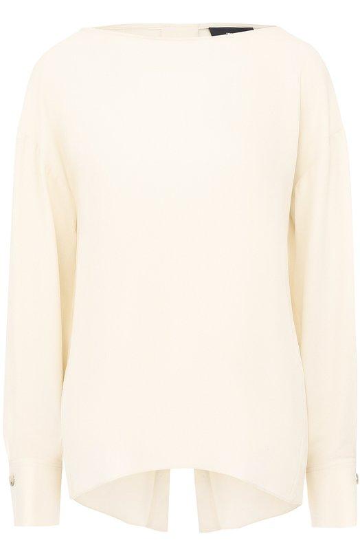 Шелковая блуза свободного кроя с вырезом-лодочка Theory