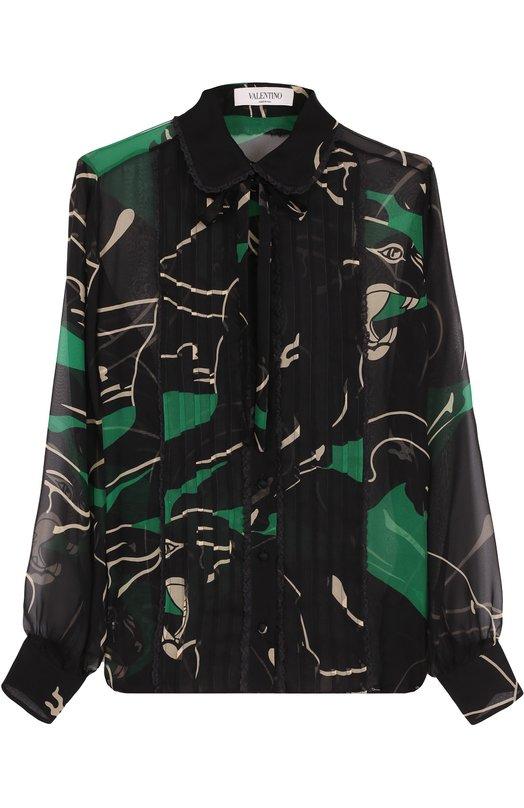 Купить Шелковая полупрозрачная блуза с принтом Valentino, NB2AB08U/3AU, Италия, Зеленый, Шелк: 100%;