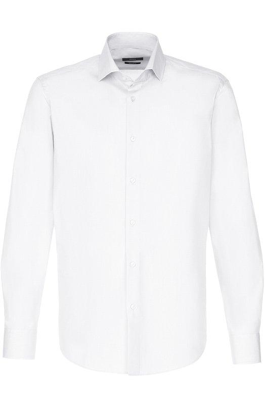 Купить Хлопковая сорочка с воротником акула BOSS, 50331152, Малайзия, Белый, Хлопок: 100%;