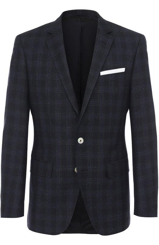 Шерстяной приталенный пиджак в клетку BOSS 50370913