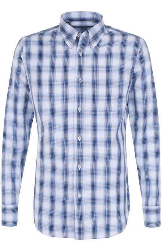 Хлопковая рубашка в клетку Tom Ford, 9FT27494RADY, Румыния, Синий, Хлопок: 100%;  - купить