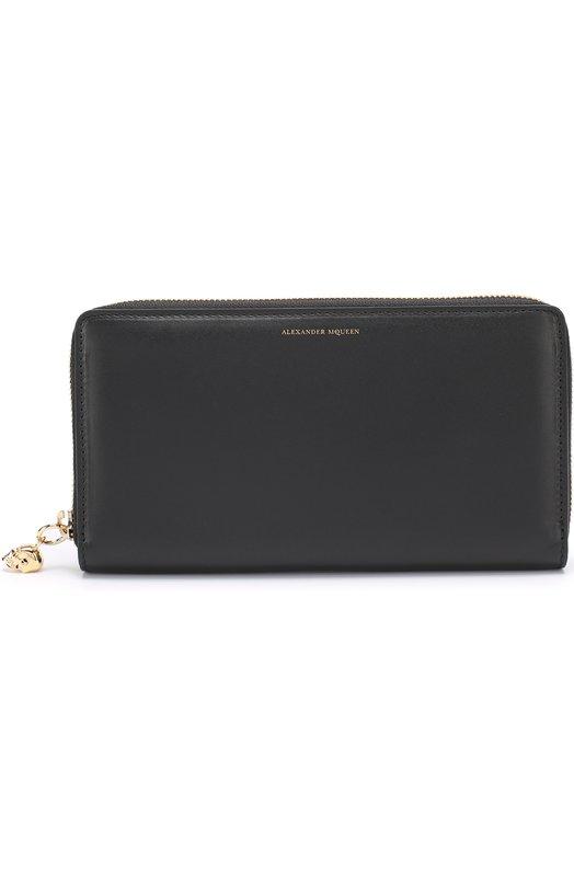 Кожаное портмоне на молнии с отделениями для кредитных карт и монет Alexander McQueen 303743/0A80G