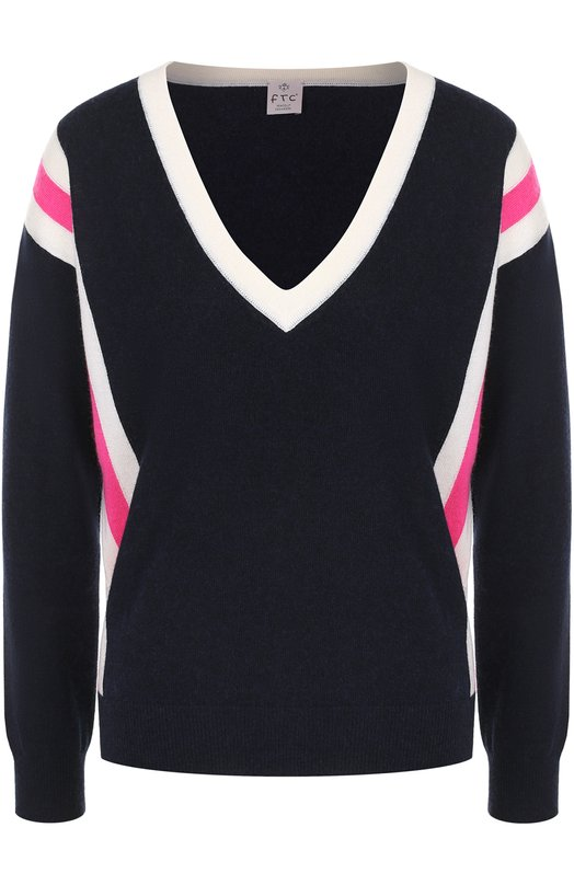 Купить Пуловер с контрастной отделкой и V-образным вырезом FTC, 676-0880, Китай, Темно-синий, Кашемир: 50%; Лиоселл: 50%;