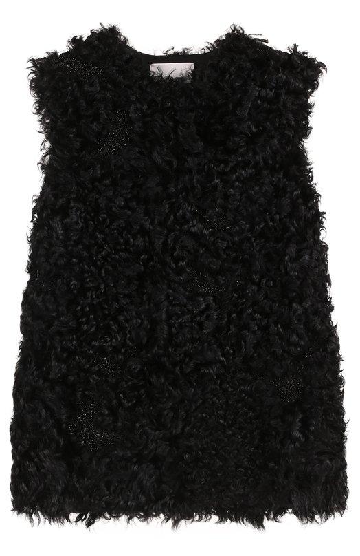 Жилет из меха ягненка с вышивкой бисером Valentino NF2FC080/9BF