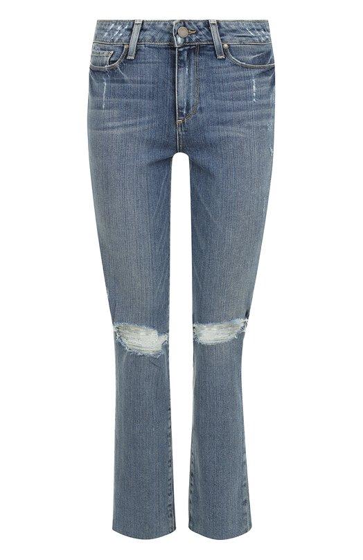 Купить Укороченные джинсы прямого кроя с потертостями Paige, 3182001-4695, США, Синий, Хлопок: 98%; Эластан: 2%;