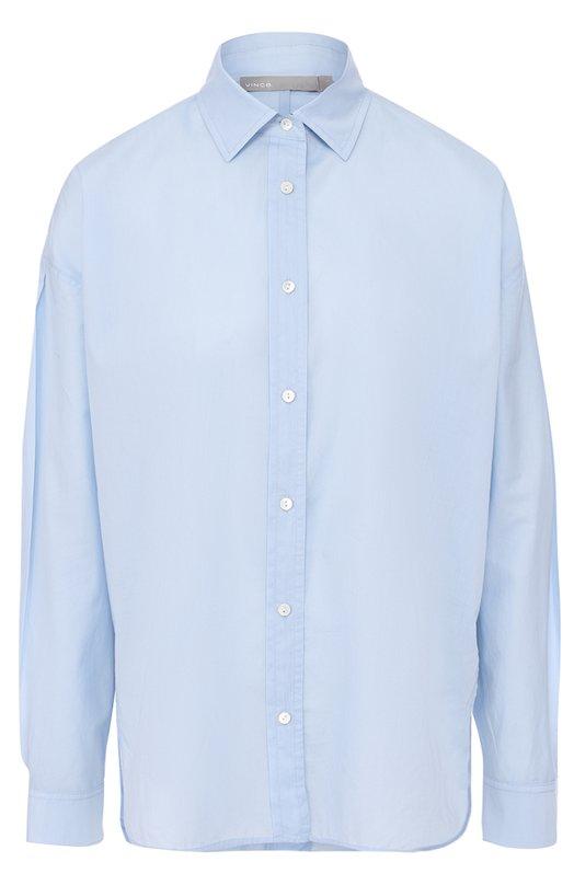 Купить Хлопковая блуза свободного кроя Vince, V388011646, Китай, Голубой, Хлопок: 100%;