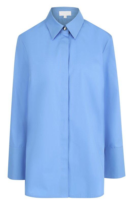Купить Удлиненная хлопковая блуза свободного кроя Escada Sport, 5023593, Болгария, Голубой, Хлопок: 100%;
